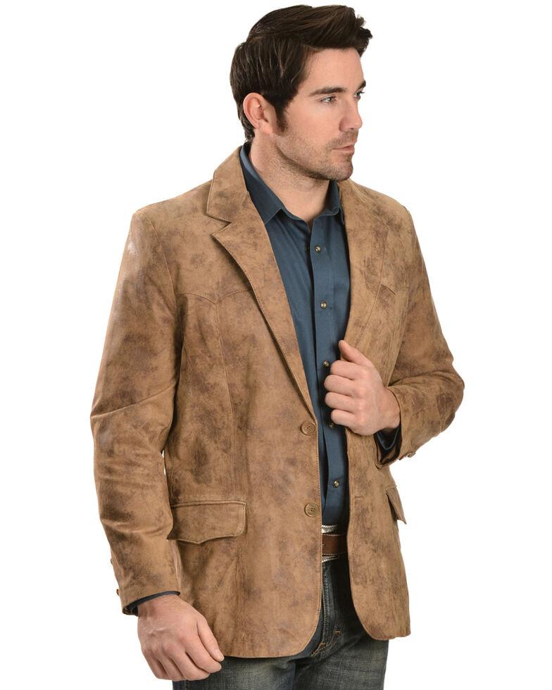 Cody James Men's Western Leather Blazer, Brown, hi-res