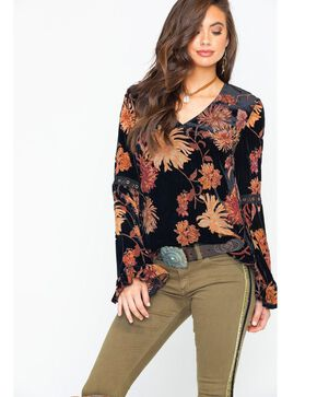 Miss Me Women's Leaf Print Bell Sleeve Top , Black, hi-res