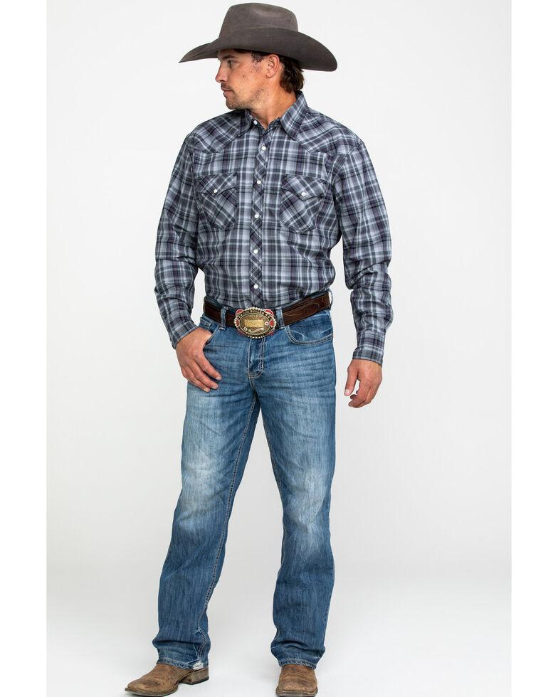 Wrangler 20X Men's Advanced Comfort Grey Plaid Long Sleeve Western Shirt , Grey, hi-res