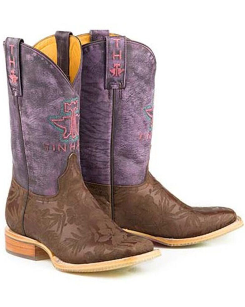 Tin Haul Women's Aloha Floral Western Boots - Wide Square Toe, Brown, hi-res
