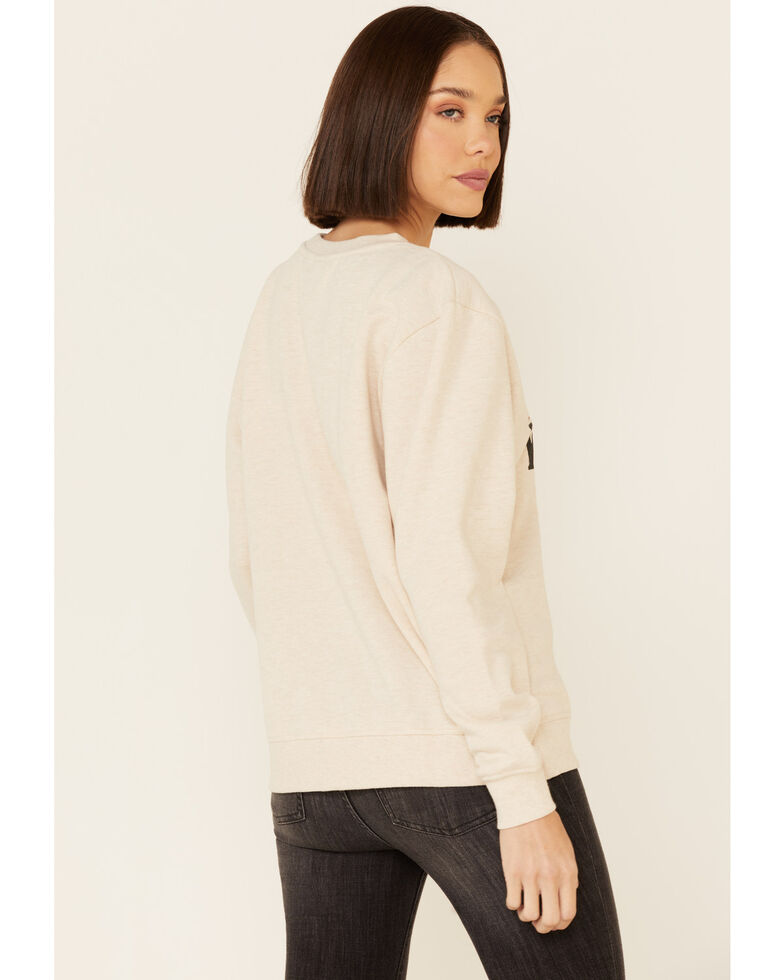 Ariat Women's Heather Oatmeal Western Vibes Graphic Long Sleeve Top , Oatmeal, hi-res