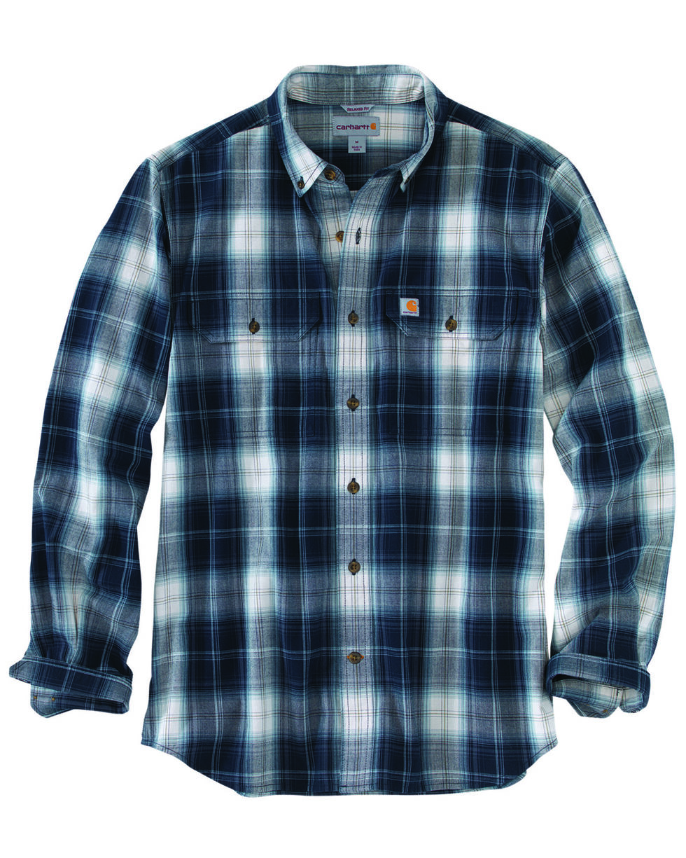 Carhartt Men's Fort Plaid Long-Sleeve Shirt, Navy, hi-res
