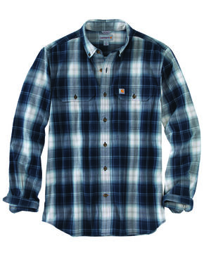 Carhartt Men's Fort Plaid Long-Sleeve Shirt - Big & Tall , Navy, hi-res