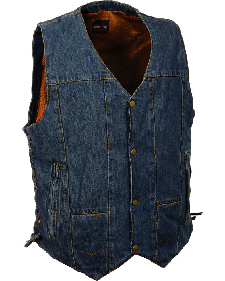 Milwaukee Leather Men's 10 Pocket Side Lace Denim Vest, Blue, hi-res