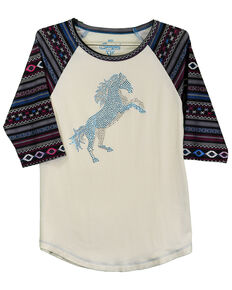 Cowgirl Hardware Toddler Girls' White Crystal Stormy Horse Raglan, Cream, hi-res