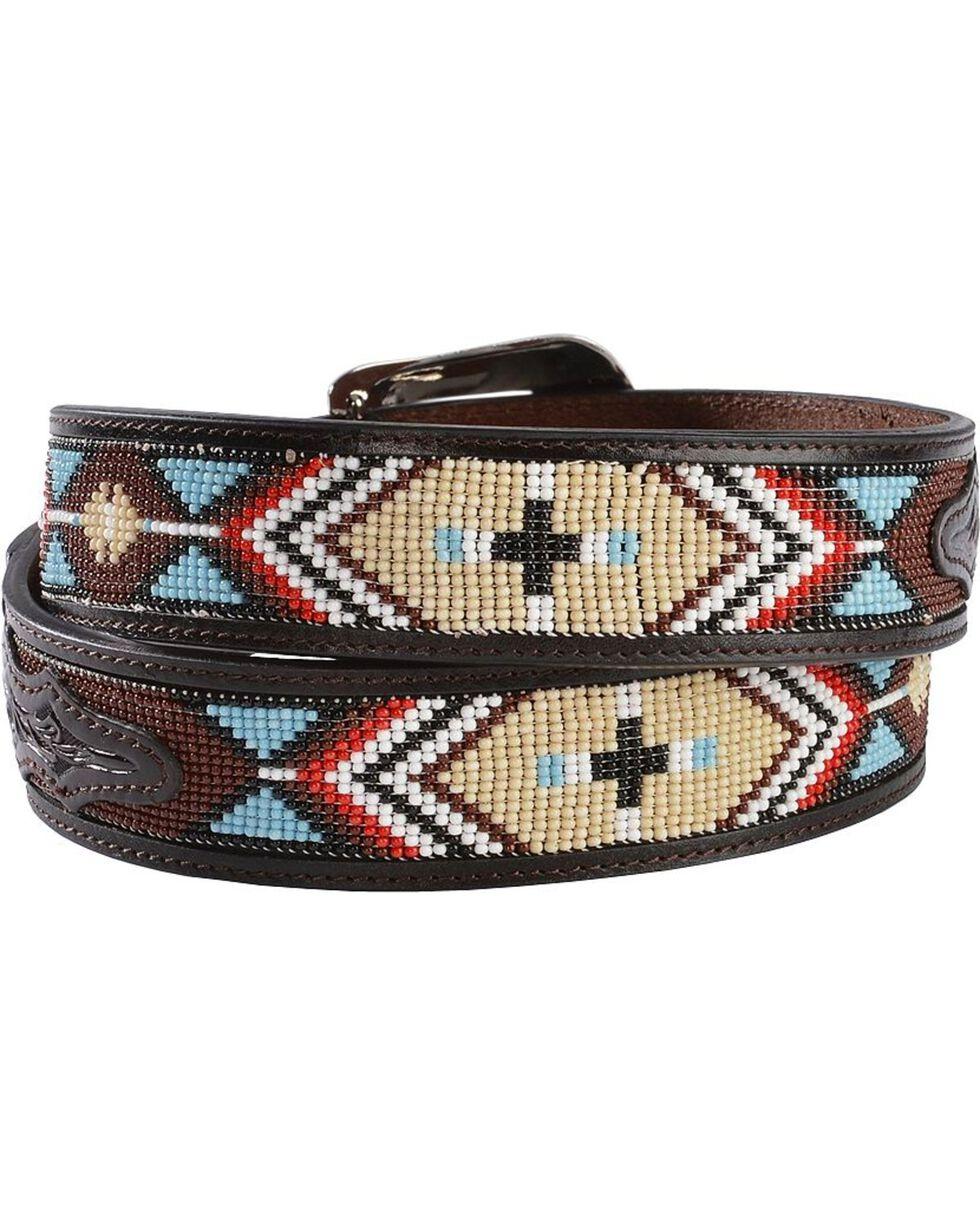 3D Belt Co. Men's Beaded Aztec Handtooled Leather Belt, Multi, hi-res
