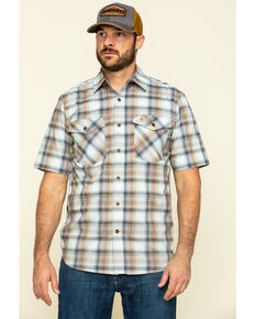 Carhartt Men's Soft Blue Rugged Flex Bozeman Plaid Short Sleeve Work Shirt - Big , Blue, hi-res