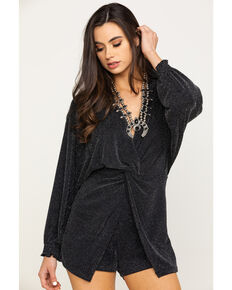 By Together Women's Black Metallic Long Sleeve Romper, Black, hi-res