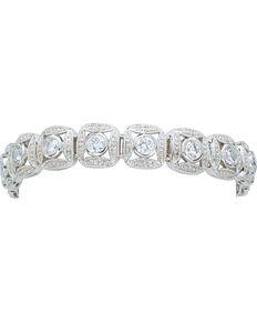 Montana Silversmiths Women's Crystal Square Link Bracelet, Silver, hi-res