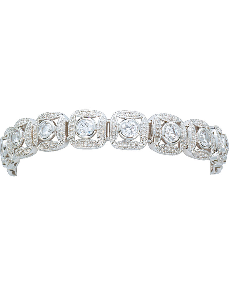 Montana Silversmiths Women's Crystal Square Link Bracelet, Silver, hi-res