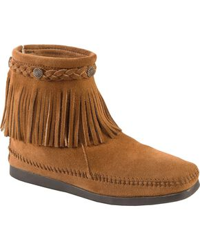 Minnetonka Women's Hi Top Back Zip Boots, Taupe, hi-res