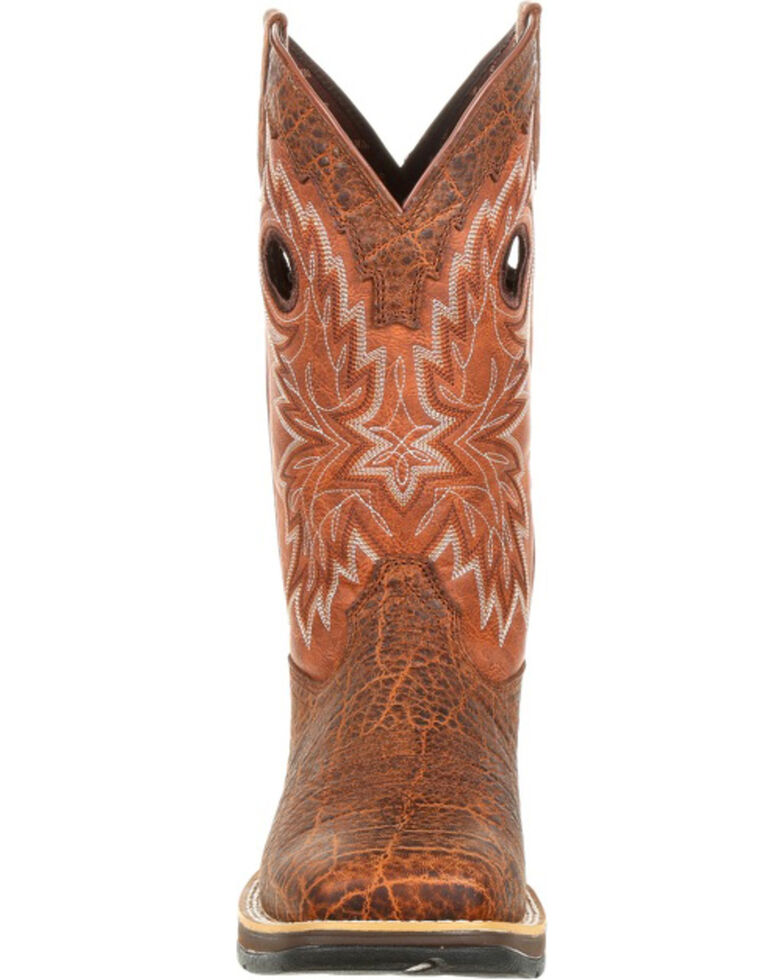 Rebel by Durango Men's Brown Elephant Print Western Boots - Square Toe , Brown, hi-res
