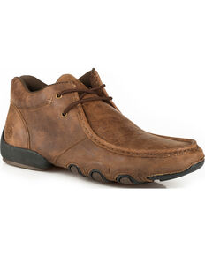 Roper Men's Brown Leather 2 Eye Lace Up Driving Moc Chukka Shoes , Brown, hi-res