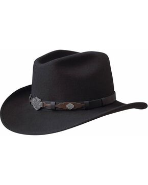 Harley Davidson Leather Overlay & Concho Wool Felt Crushable Cowboy Hat, Black, hi-res