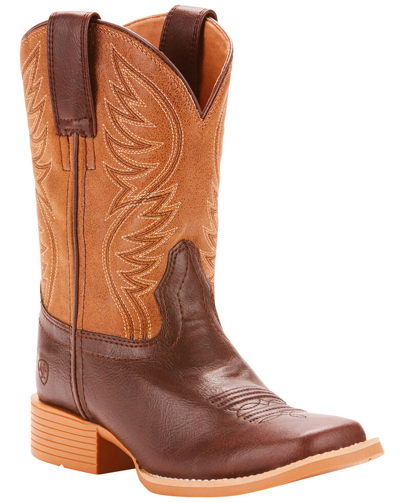 Ariat Girls' Brumby Fudgesickle Tumblin Tan Cowgirl Boots - Square Toe, Brown, hi-res