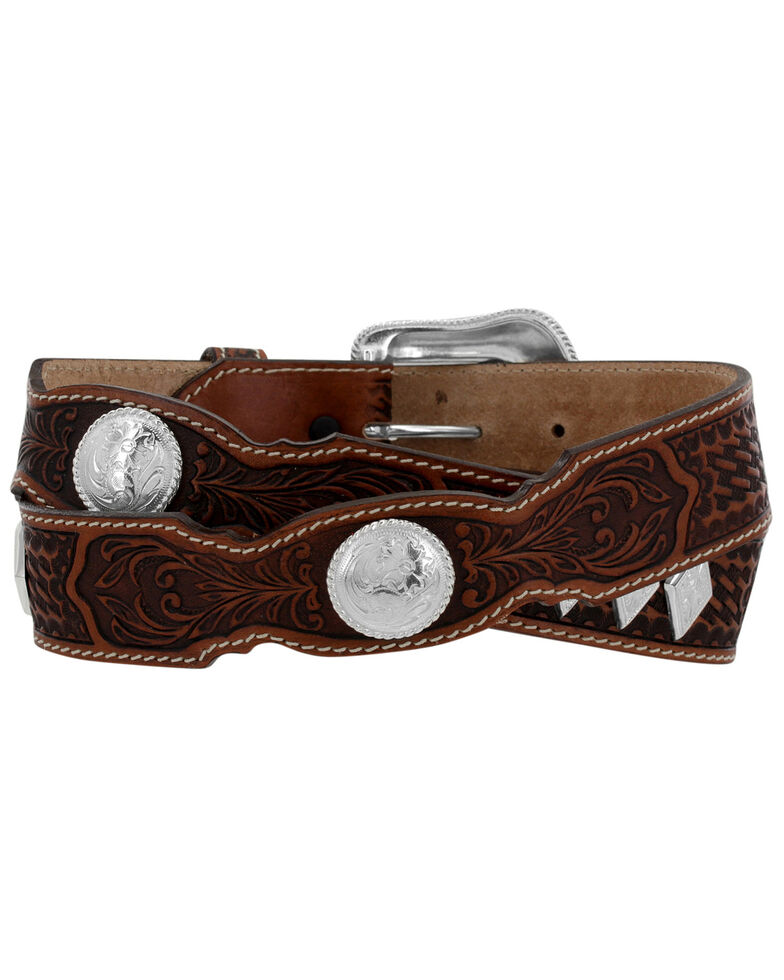 Tony Lama Men's Tooled Stillwater Creek Western Belt, Tan, hi-res