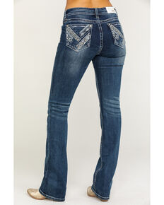 Grace in LA Women's Light Wash Mid-Rise Aztec Pocket Bootcut Jeans , Blue, hi-res