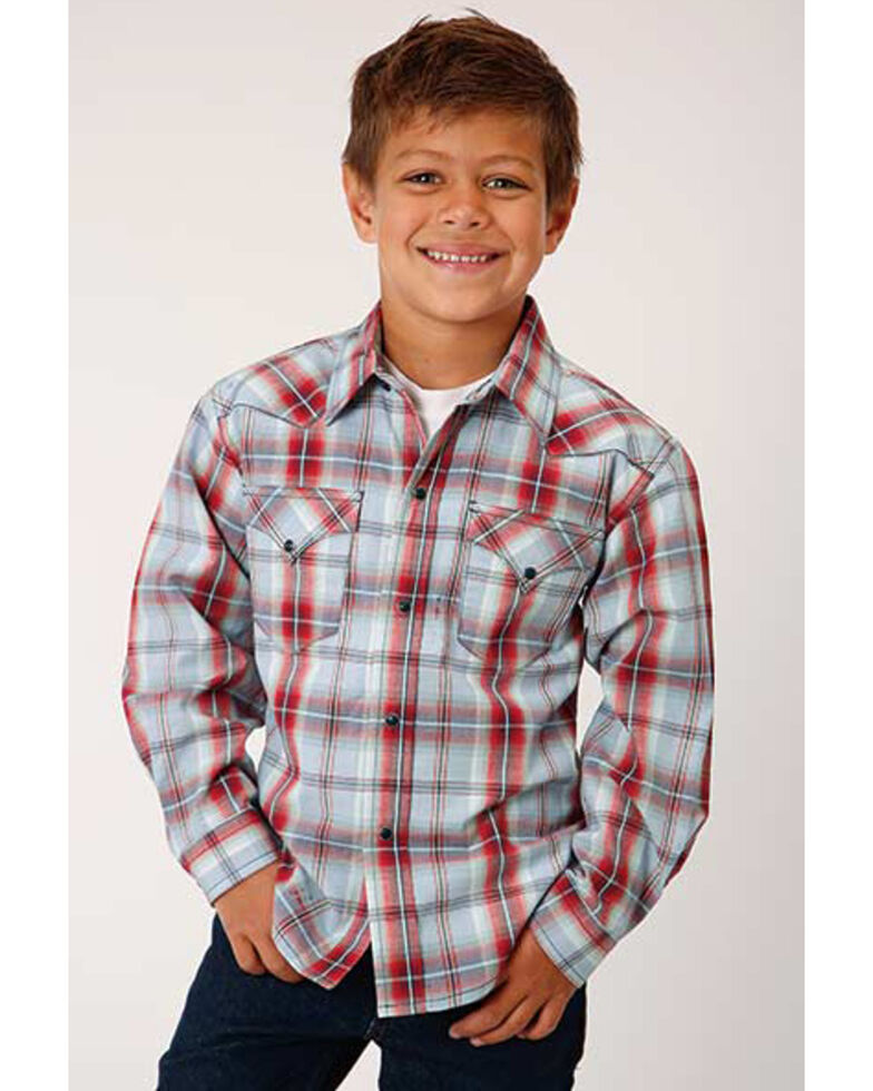Roper Boys' Performance Sandstone Plaid Long Sleeve Western Shirt , Red, hi-res