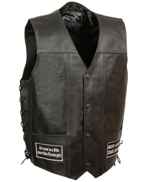 Milwaukee Leather Men's Side Lace Eagle & Flag Patch Vest, Black, hi-res