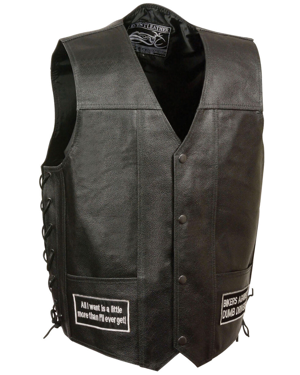 Milwaukee Leather Men's Side Lace Eagle & Flag Patch Vest, Black, hi-res