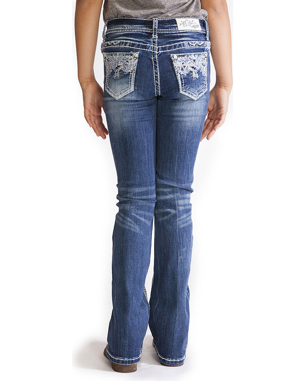 Grace in LA Girls' Faux Flap Pocket Jeans - Boot Cut , Indigo, hi-res