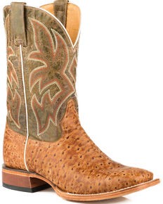Roper Men's Stretch Embossed Ostrich Cowboy Boots - Square Toe, Tan, hi-res