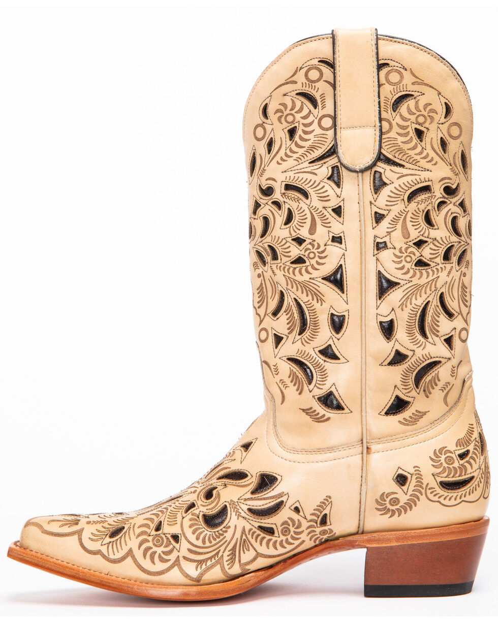 Shyanne Women's Sarah Laser Cutout Western Boots - Snip Toe, Natural, hi-res