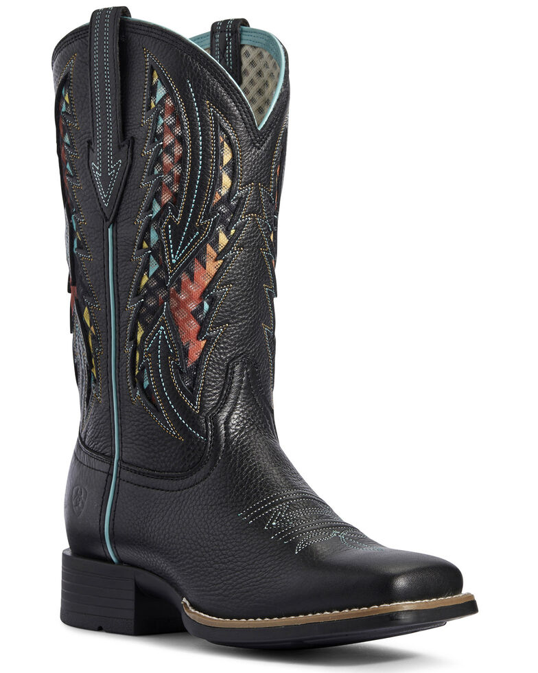 Ariat Women's Blackjack VentTEK Western Boots - Wide Square Toe, Black, hi-res