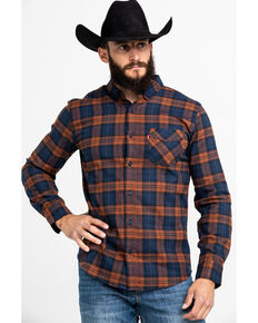 Levi's Men's Ferra Plaid Button Long Sleeve Western Flannel Shirt , Orange, hi-res