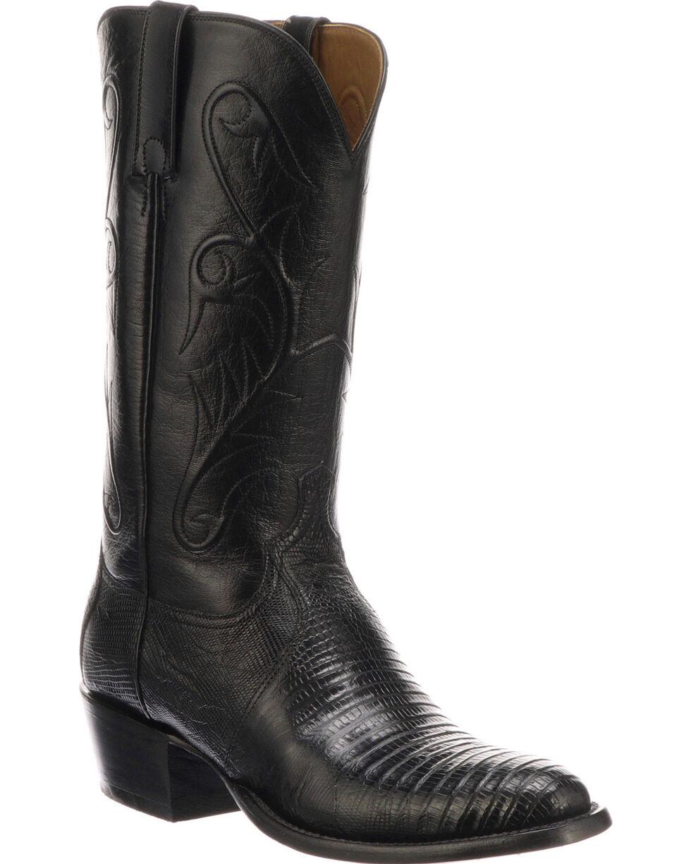 Lucchese Men's Handmade Benton Black Lizard Cowboy Boots - Medium Toe , Black, hi-res