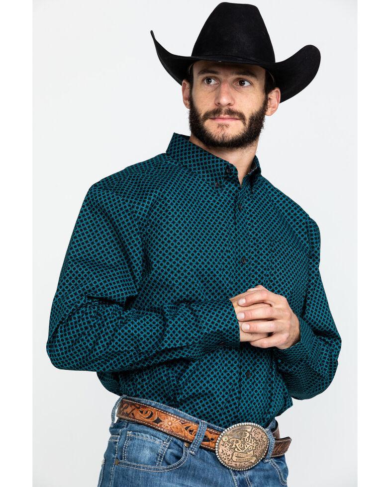 Cody James Core Men's Livingston Geo Print Long Sleeve Western Shirt , Black, hi-res