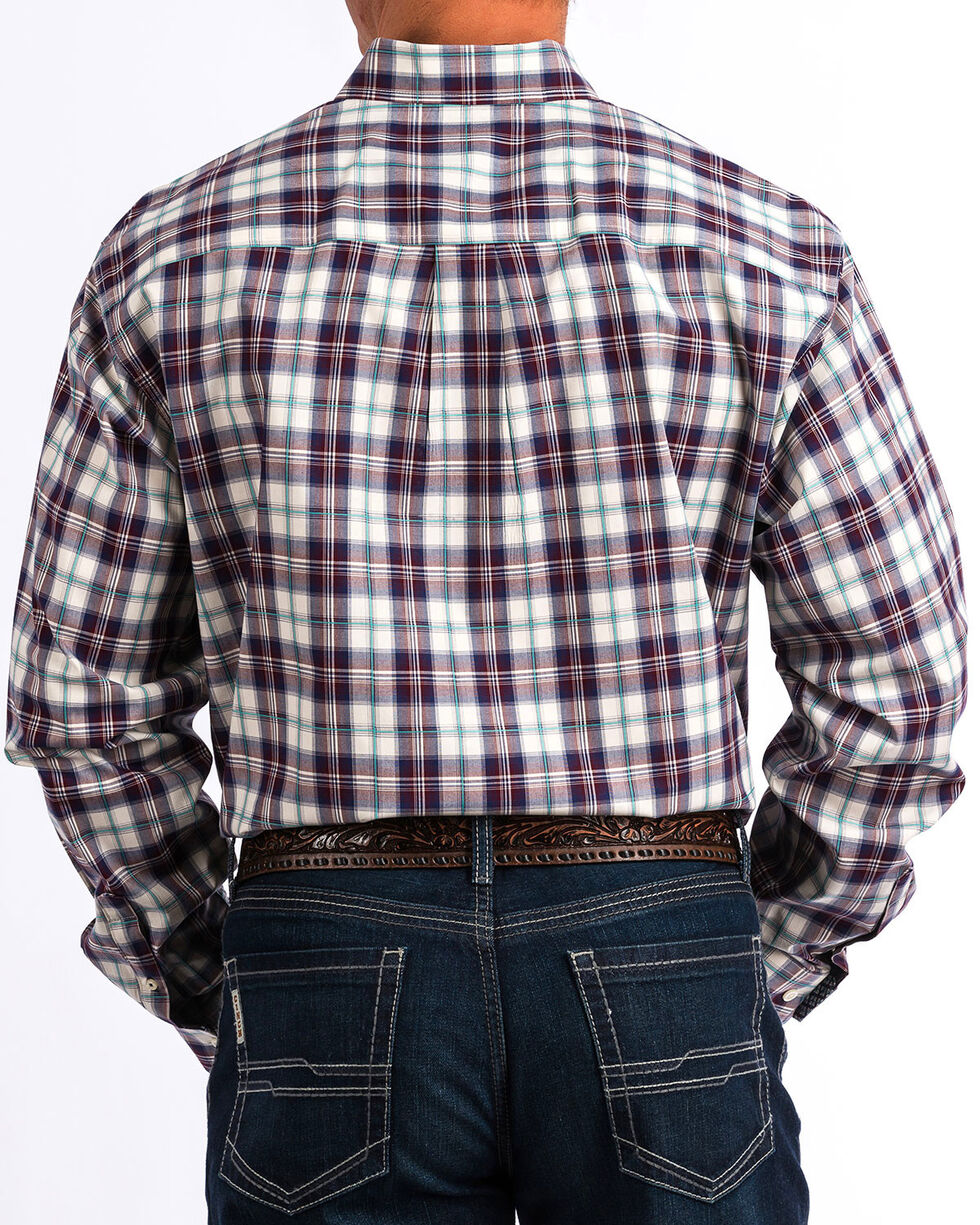 Cinch Men's Wine Plaid Long Sleeve Button Down Western Shirt, Wine, hi-res