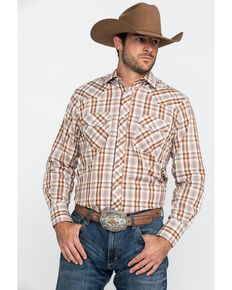 Roper Men's Classic Small Plaid Long Sleeve Western Shirt, Brown, hi-res