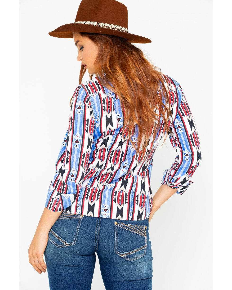 Rock & Roll Cowgirl Women's Poplin Aztec Print Long Sleeve Western Shirt , Blue, hi-res
