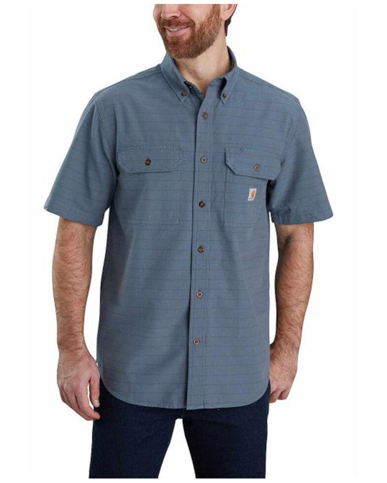 Carhartt Men's Blue Plaid Chambray Short Sleeve Button-Down Work Shirt , Blue, hi-res