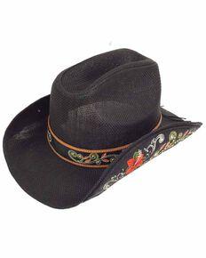 Shyanne Women's Flora Bella Western Straw Hat , Black, hi-res