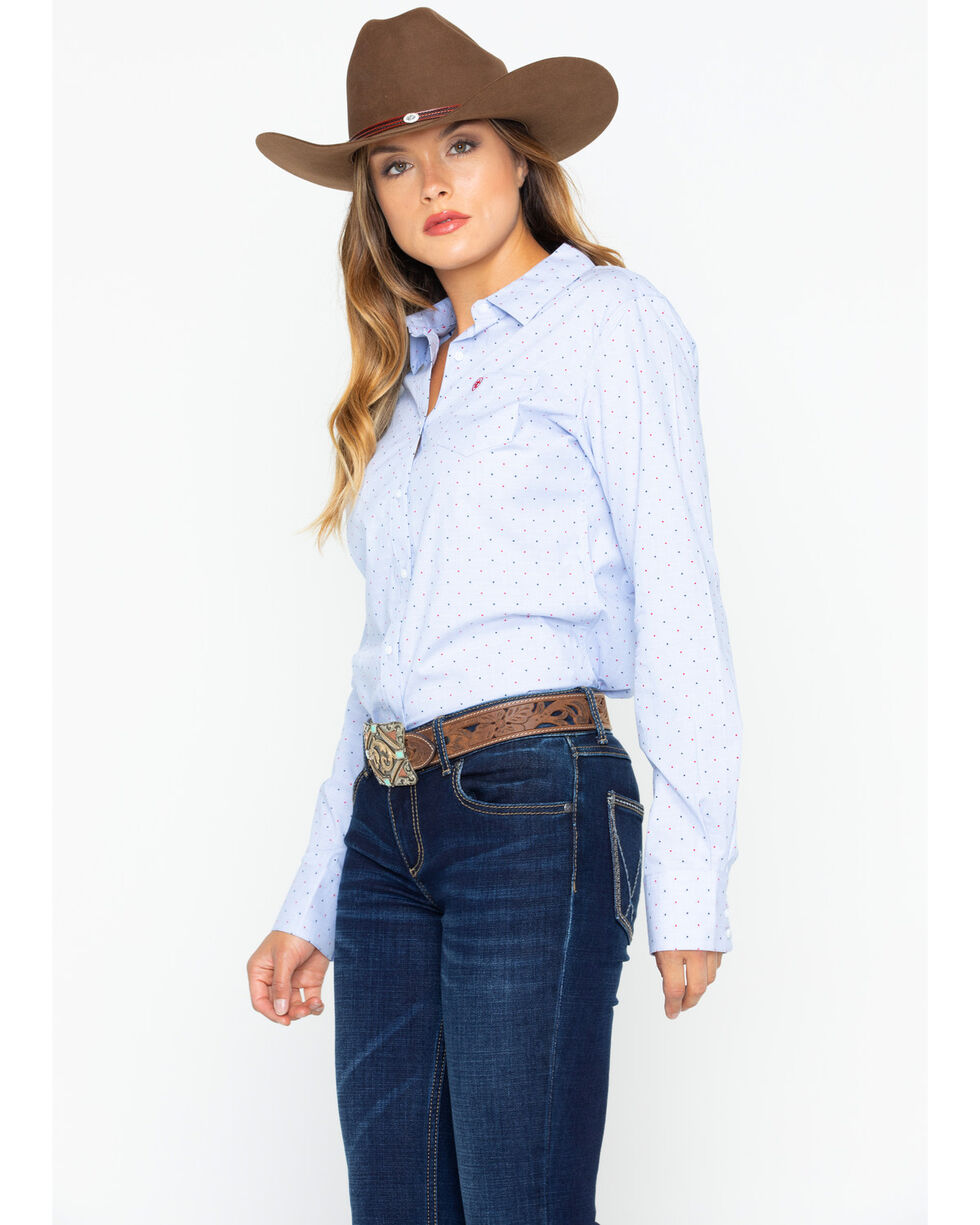 Ariat Women's Kirby Stretch Pinstripe Dobby Button Long Sleeve Shirt , , hi-res
