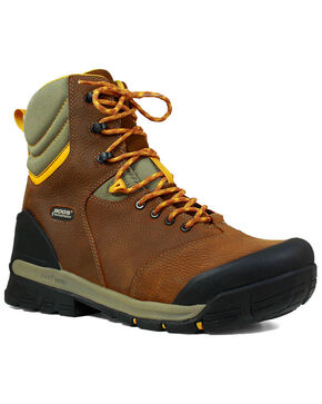 "Bogs Men's Bedrock 8"" Waterproof Work Boots - Round Toe, Brown, hi-res"