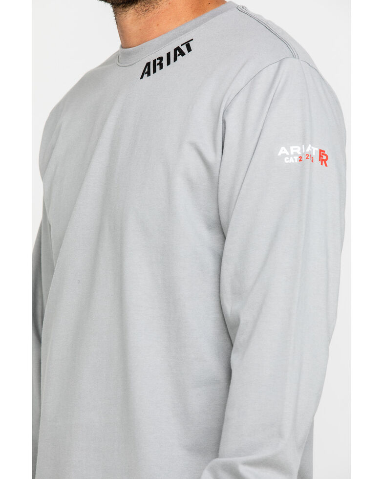 Ariat Men's Grey FR Heartland Graphic Long Sleeve Work T-Shirt , Grey, hi-res