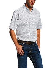 Ariat Men's Midwood Stretch Geo Print Short Sleeve Western Shirt - Big & Tall , White, hi-res