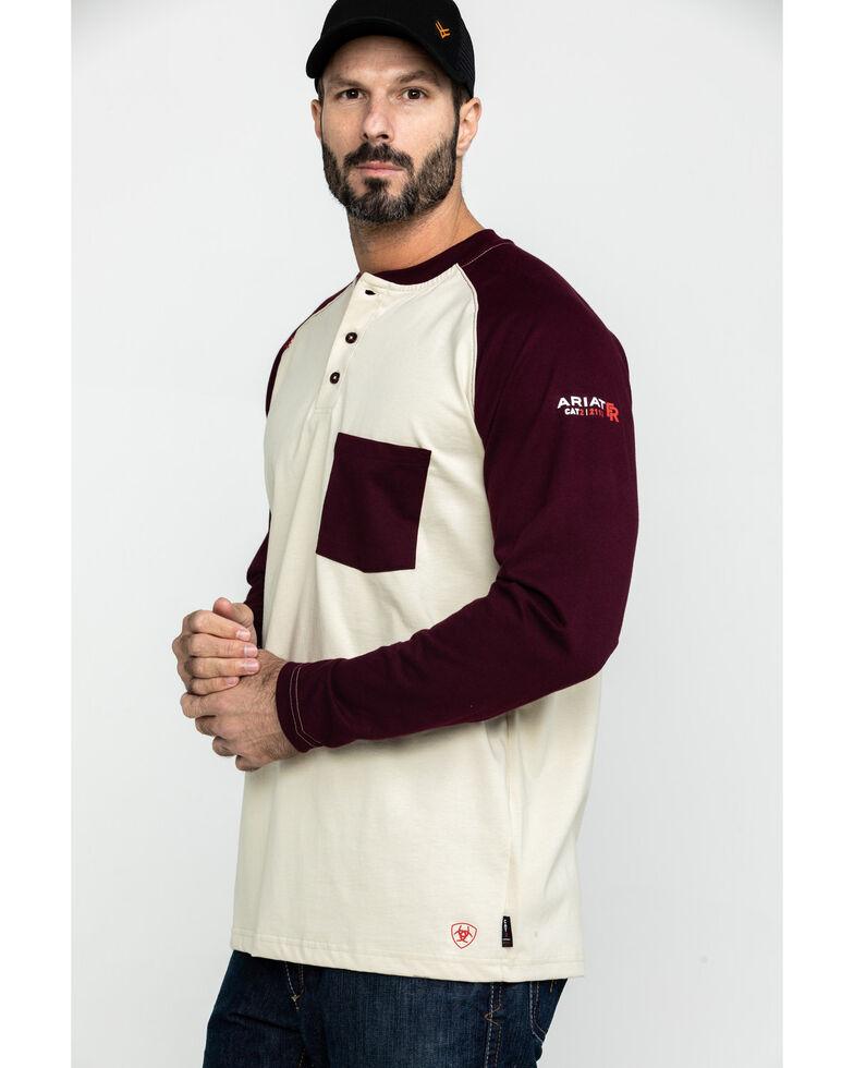 Ariat Men's Sand FR Baseball Henley Work Shirt - Tall , Sand, hi-res