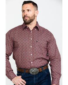 Tuf Cooper Men's Stretch Poplin Print Long Sleeve Western Shirt , Rust Copper, hi-res