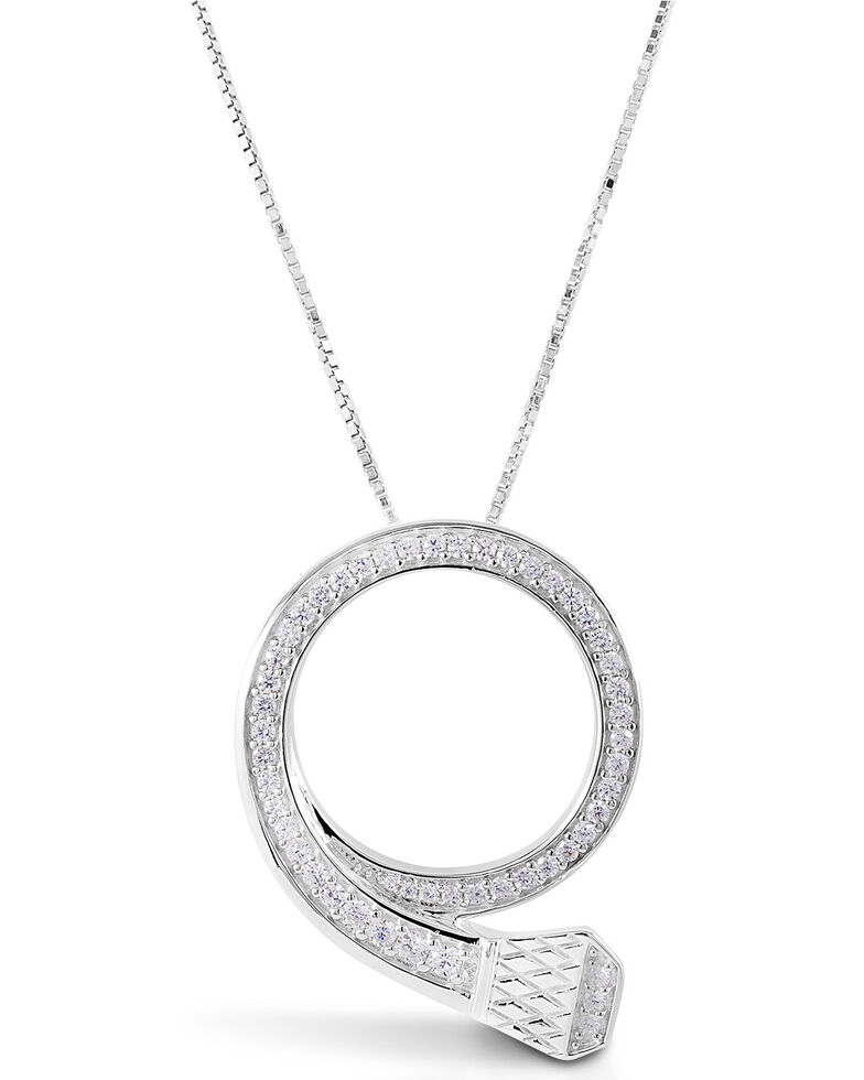 Kelly Herd Women's Circled Horseshoe Nail Pendant Necklace , Silver, hi-res