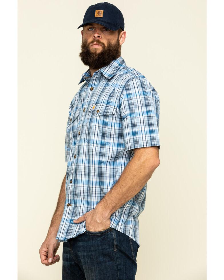 Carhartt Men's Bolt Blue Plaid M-Force Relaxed Short Sleeve Work Shirt , Blue, hi-res