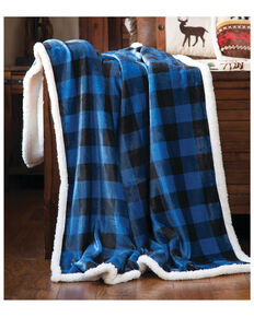 Carstens Home Wrangler Blue Lumberjack Buffalo Plaid Sherpa Fleece Throw Blanket, Blue, hi-res