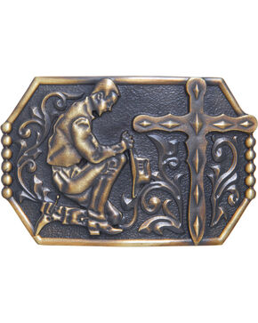 AndWest Men's Kneeling Cowboy Belt Buckle, Brass, hi-res