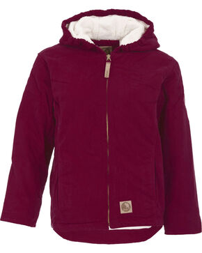 Berne Girls' Washed Sherpa-Lined Hooded Jacket, Plum, hi-res