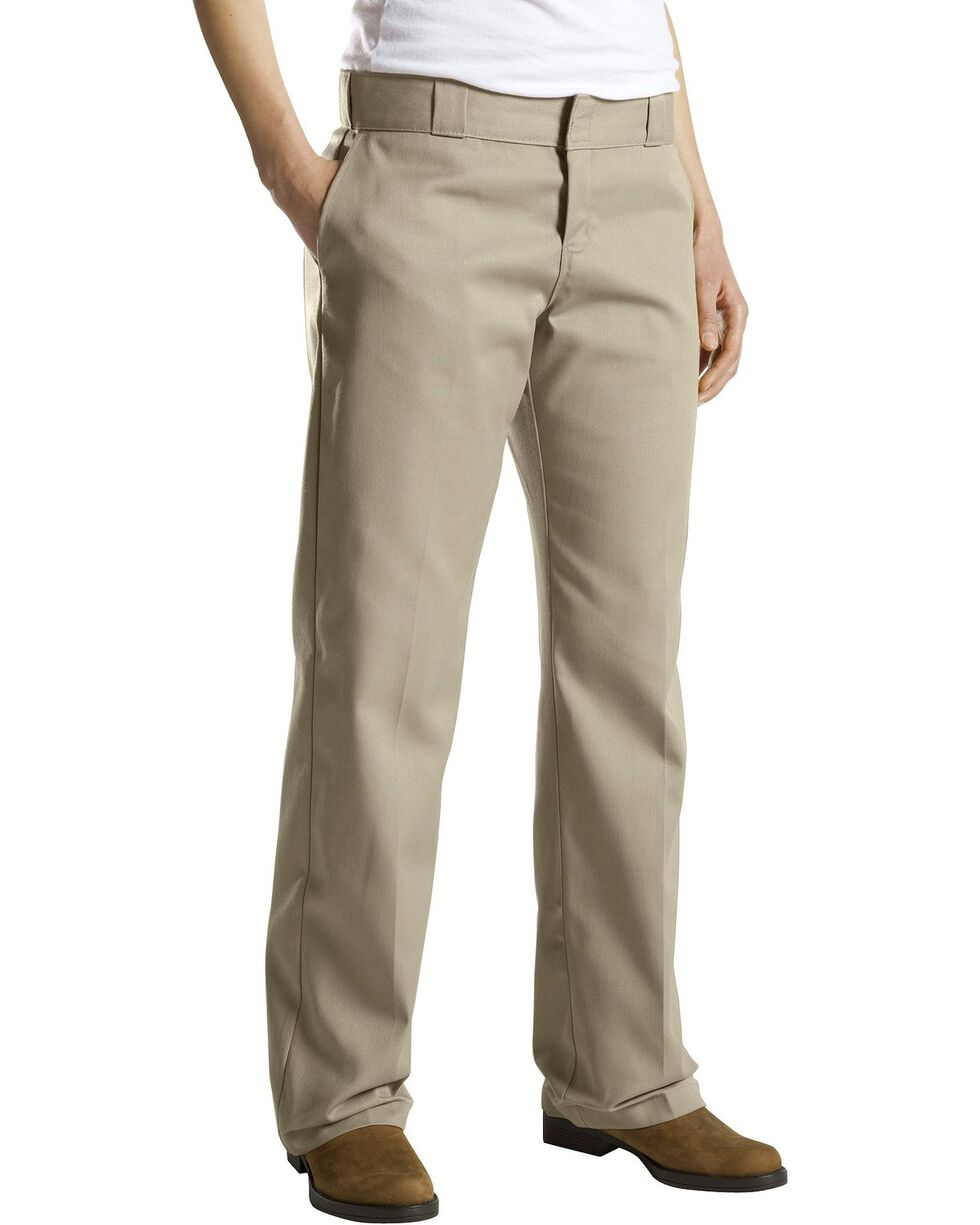 Dickies Women's Classic Straight Leg Twill Pants, Khaki, hi-res