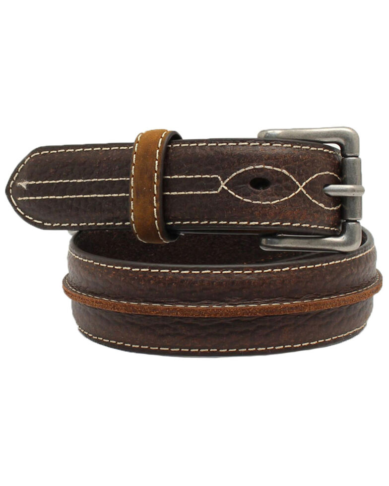 3D Boys' Center Bump Tube Western Belt, Brown, hi-res