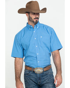Ariat Men's Glendale Plaid Short Sleeve Western Shirt , Blue, hi-res